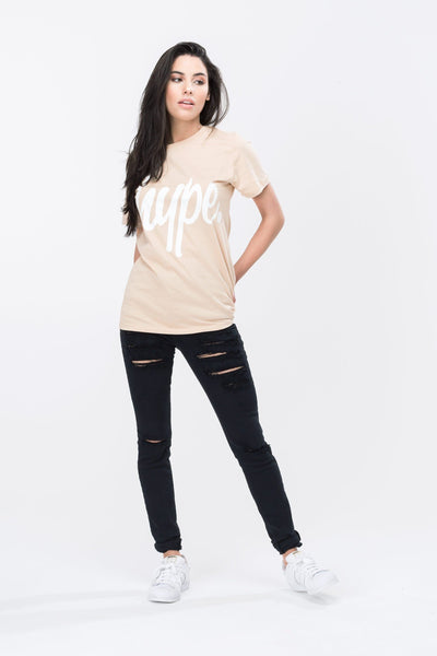 HYPE Sand/White Hype Script Women's T-Shirt-T-Shirt-HYPE.-Weightless.no