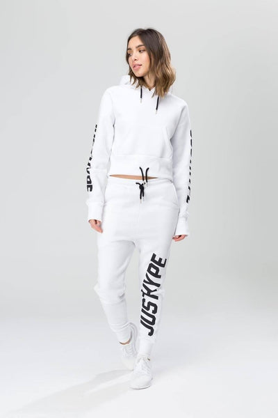 HYPE White/Black Big Justhype Women's Joggers-Joggers-HYPE.-Weightless.no