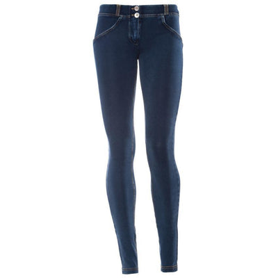 WR.UP® Shaping Jeans Skinny Low Dark Blue + Yellow Stitching-Jeans-Freddy-Weightless.no