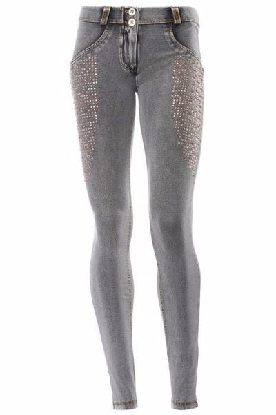 WR.UP® Shaping Jeans Skinny Low Swarovski Grey-Jeans-Freddy-Weightless.no