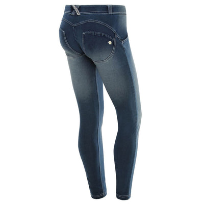 WR.UP® Shaping Jeans Skinny Mid Dark Blue + Crinkle Effect + white stitching-Jeans-Freddy-Weightless.no