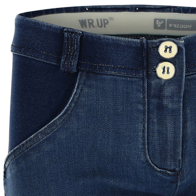 WR.UP® Shaping Jeans Skinny Mid Distressed Denim Front Dark Blue-Jeans-Freddy-Weightless.no