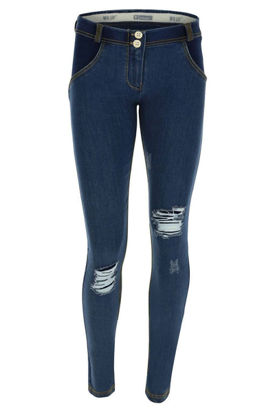 WR.UP® Shaping Jeans Skinny Mid Distressed Denim Front Dark Blue + Yellow Stitching-Jeans-Freddy-Weightless.no