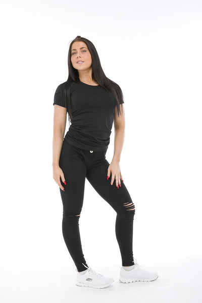 WR.UP® Shaping Jeans Skinny Mid Ripped Black-Jeans-Freddy-Weightless.no