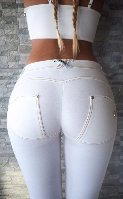 WR.UP® Shaping Jeans Skinny Mid Ripped Denim Front White-Jeans-Freddy-Weightless.no