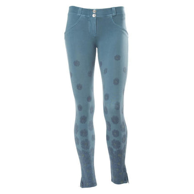 WR.UP® Shaping Pants Ankle Zip Low Blue Flowers-Pants-Freddy-Weightless.no