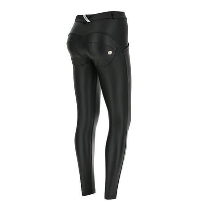 WR.UP® Shaping Pants Super Skinny Mid Vegan Leather Black-Pants-Freddy-Weightless.no