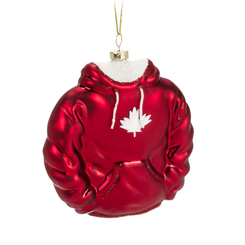 Red Hoodie with Maple Leaf Ornament