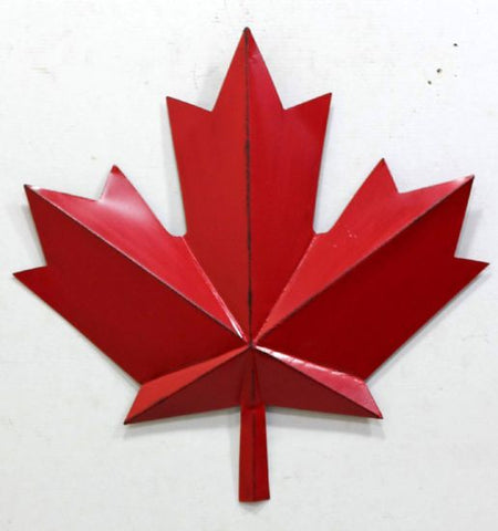 Red Metal Maple Leaf 15""