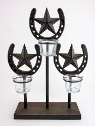 3 Light Metal Horse Shoe Candle Holder