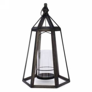 Large Metal Lantern with Glass