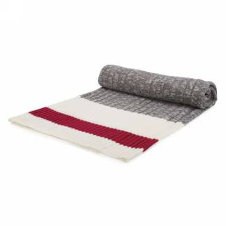 Grey Knit Throw with Red Band
