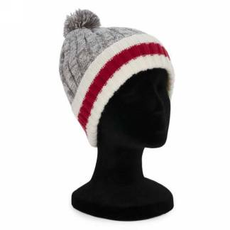 Knit Toque Grey with Red Stripe
