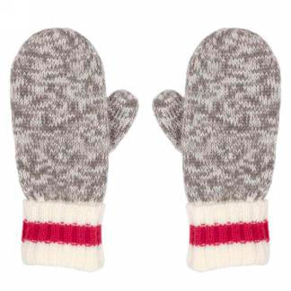 Grey Mittens with Red Band