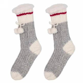 Grey Knit Slippers with Red Band