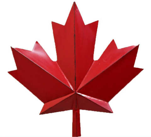 Red Metal Maple Leaf 19""