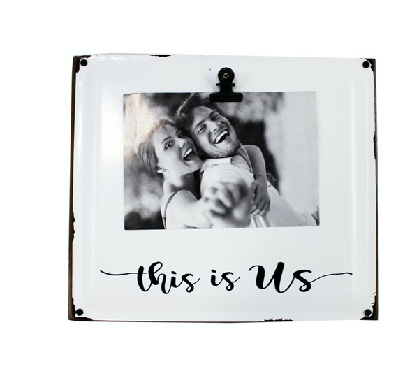 Enamel Look Wood Block Photo Frame with Clip