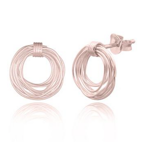Wire Nest Stud Earrings-Rose Gold
