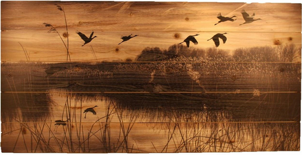 Marshland with Flying Geese