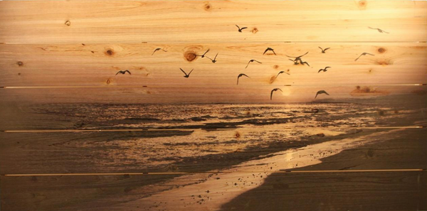 Beach Scene with Flying Birds