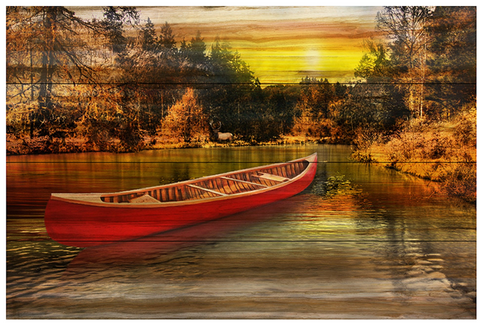 Red Canoe Wall Art