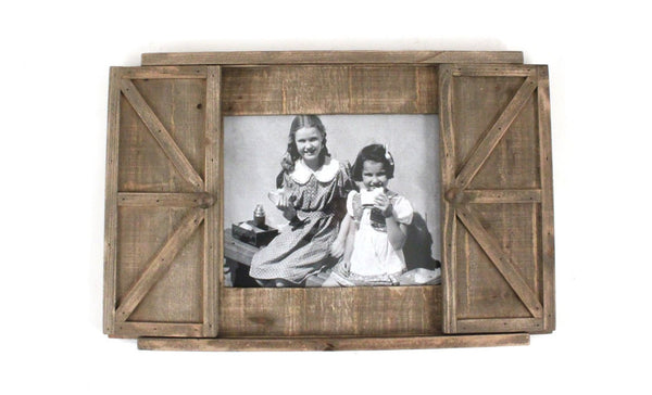 Wooden Wall Frame with Sliding Barn Doors
