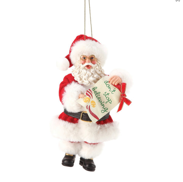 Don't Stop Believing Santa Ornament