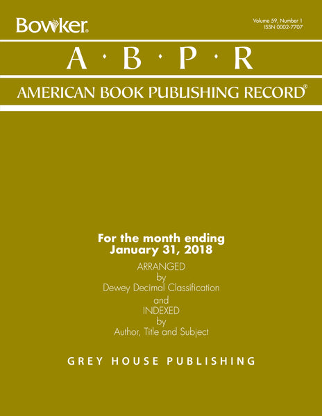 American Book Publishing Record Monthly, 2018 Subscription