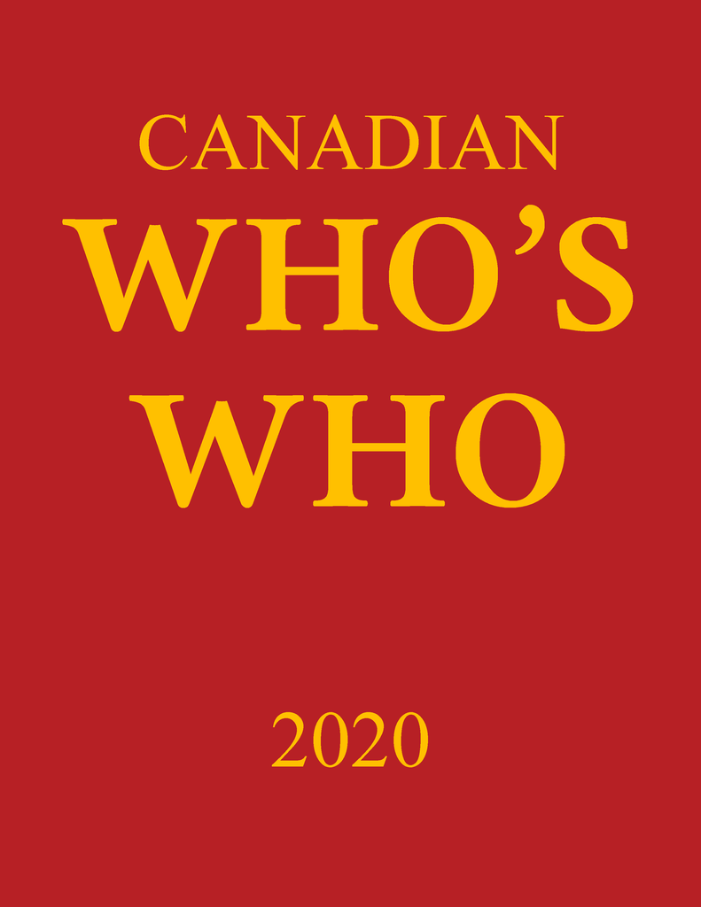 Canadian Who's Who 2020