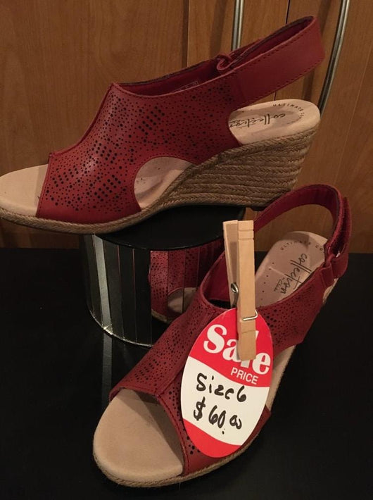 Clark red leather wedge