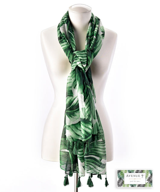 Avenue 9 leaf pattern long scarf