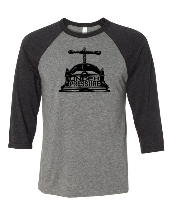 T-Shirt-BLACK/GRAY BASEBALL-Under Pressure, Little Mountain Bindery