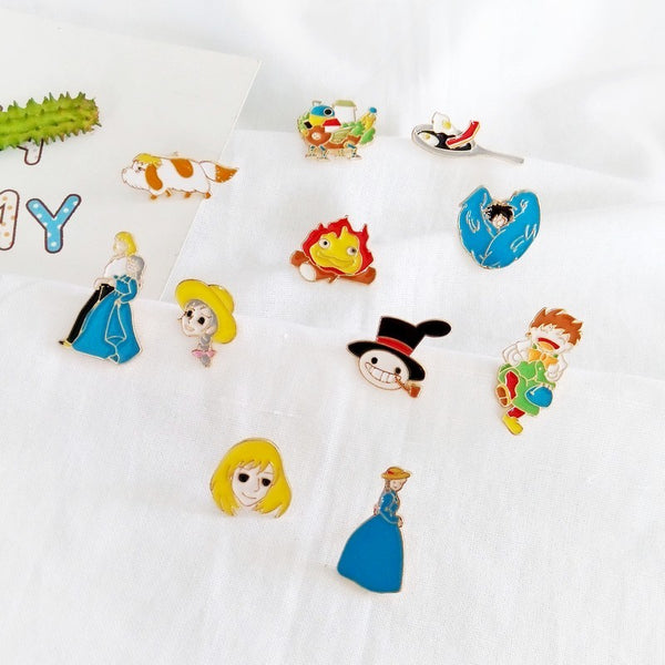 [11 PCS] Howl`s Moving Castle Enamel Pins Set