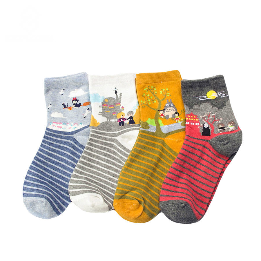 [4 PCS] Studio Ghibli Adorable Socks