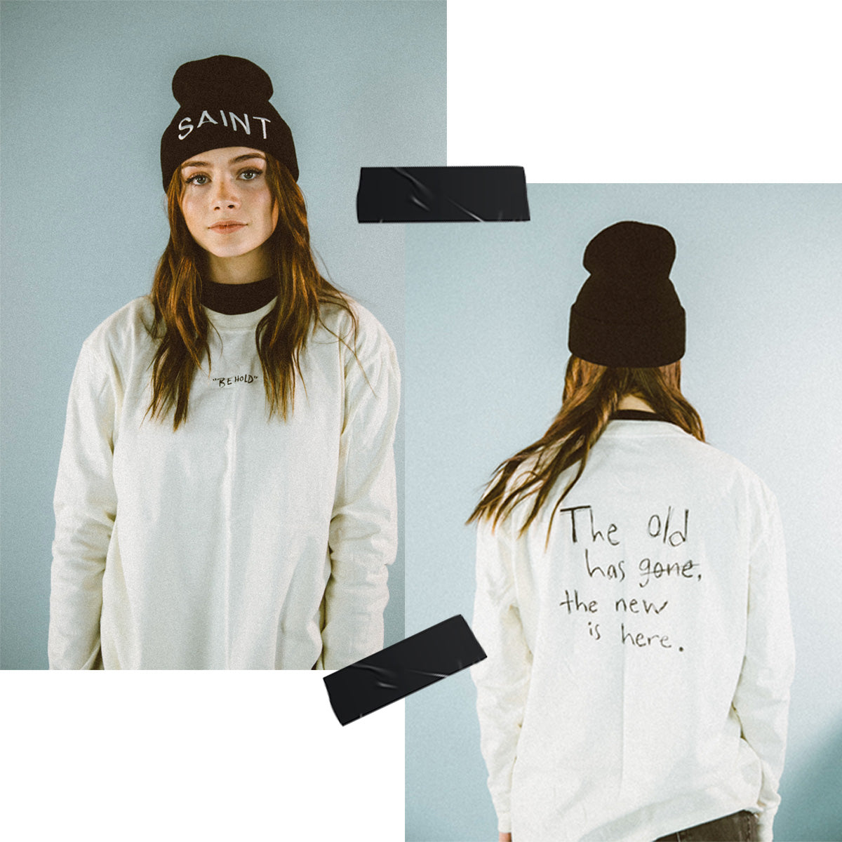 Behold long sleeve tee and Young Saints Beanie modeled by young girl