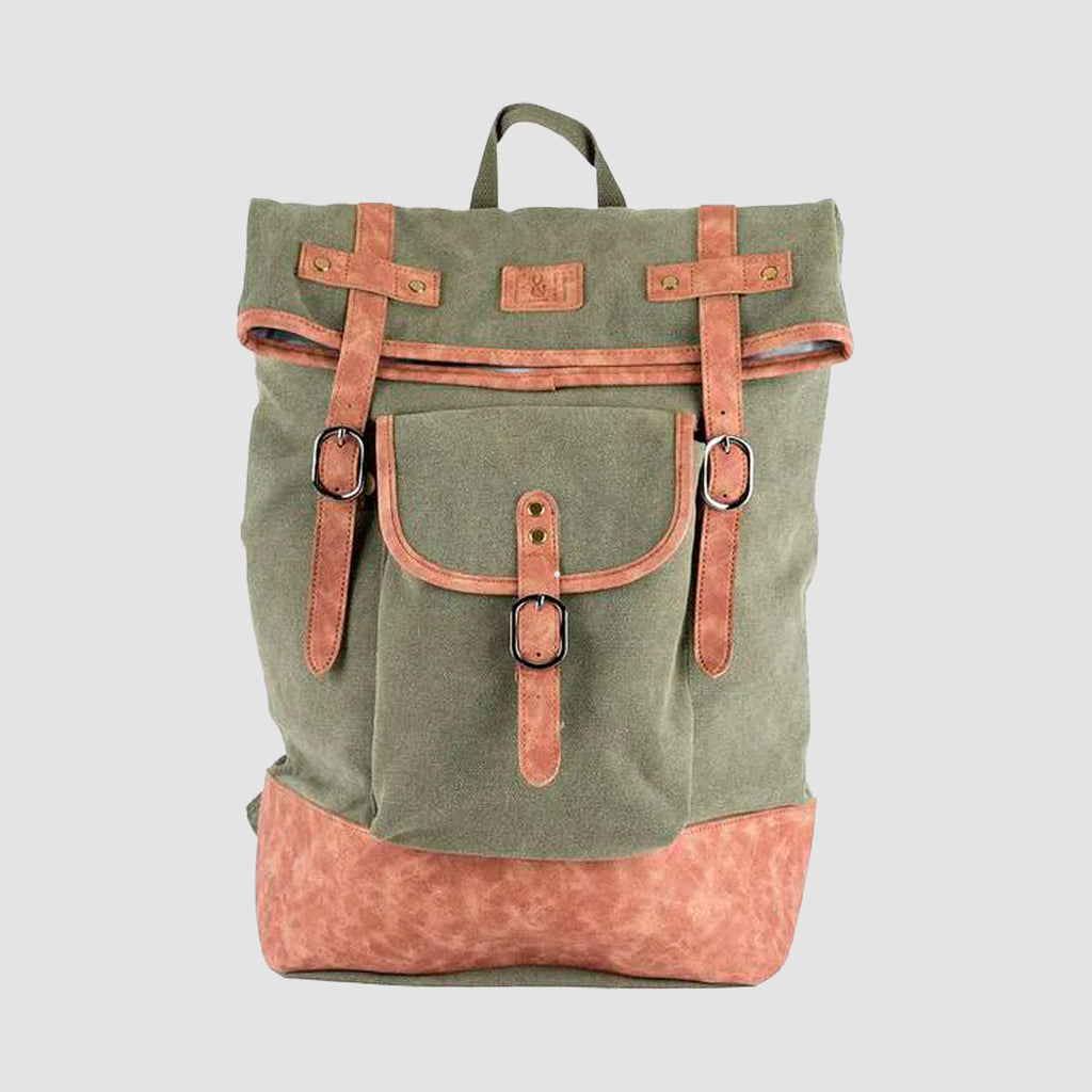 Insulated Canvas Cooler Backpack - Green