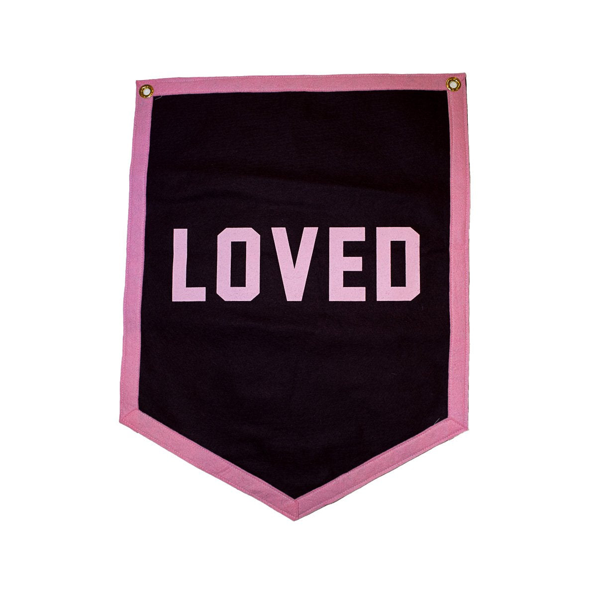 Loved Camp Flag - Maroon // Pink Trim