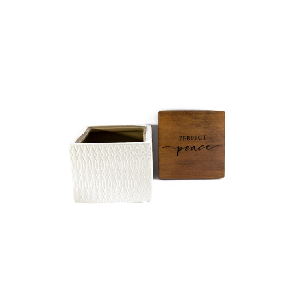 Perfect Peace Ceramic Box with Wooden Lid
