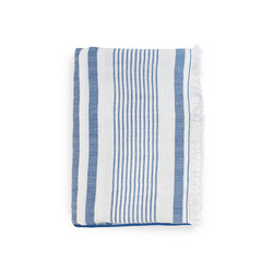 Throw · Puro Lino Lavado · Stripes Azul Mediterráneo