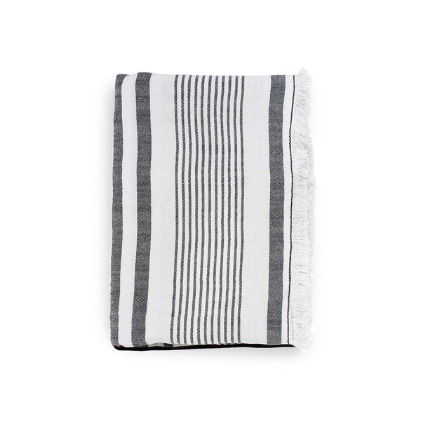 Throw · Puro Lino Lavado · Stripes Blanco/Negro