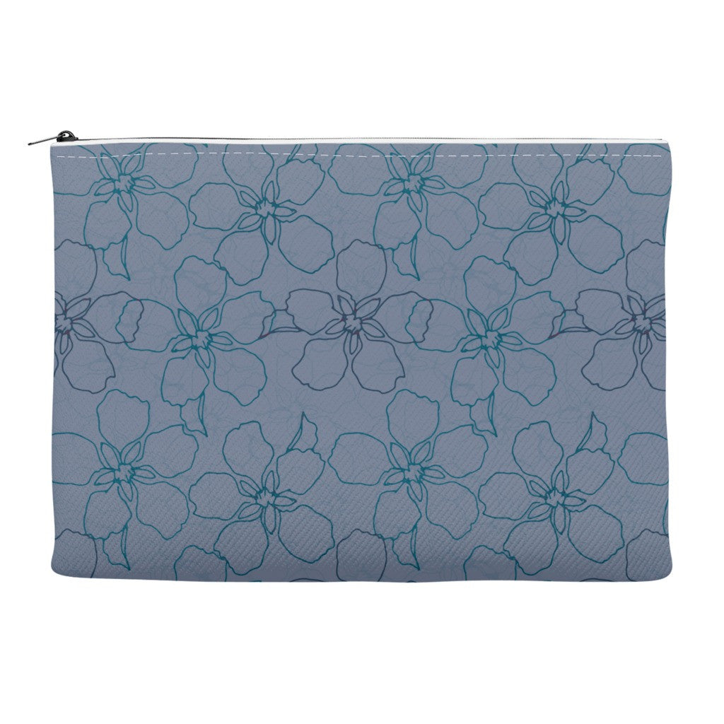 Accessory zippered case with floral blue print