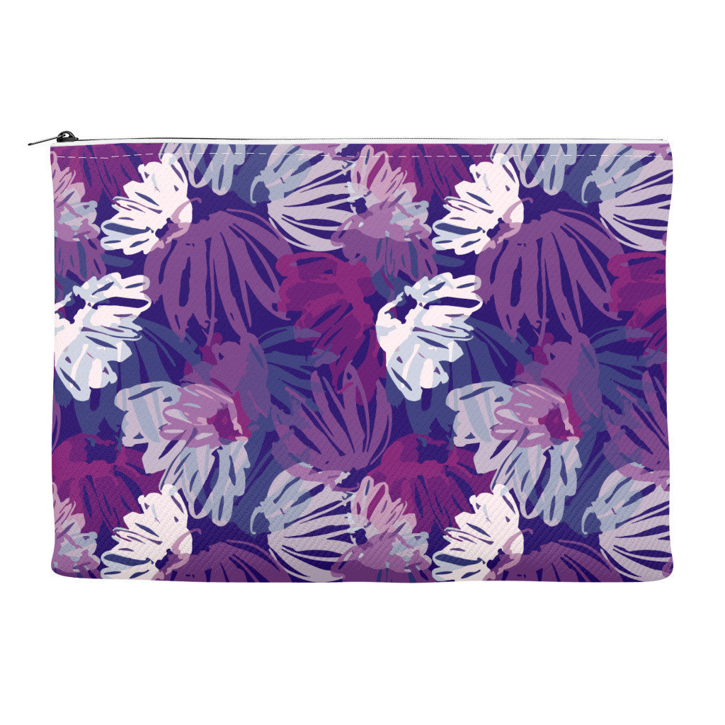 Blue pink white floral pattern on canvas zip case shown straight on
