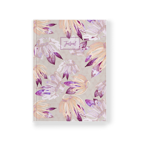 Journal with artwork cover pink, tan, and salmon floral pattern watercolor front view