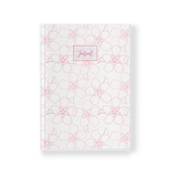 Journal with artwork cover neutral with pink line drawing tropical florals