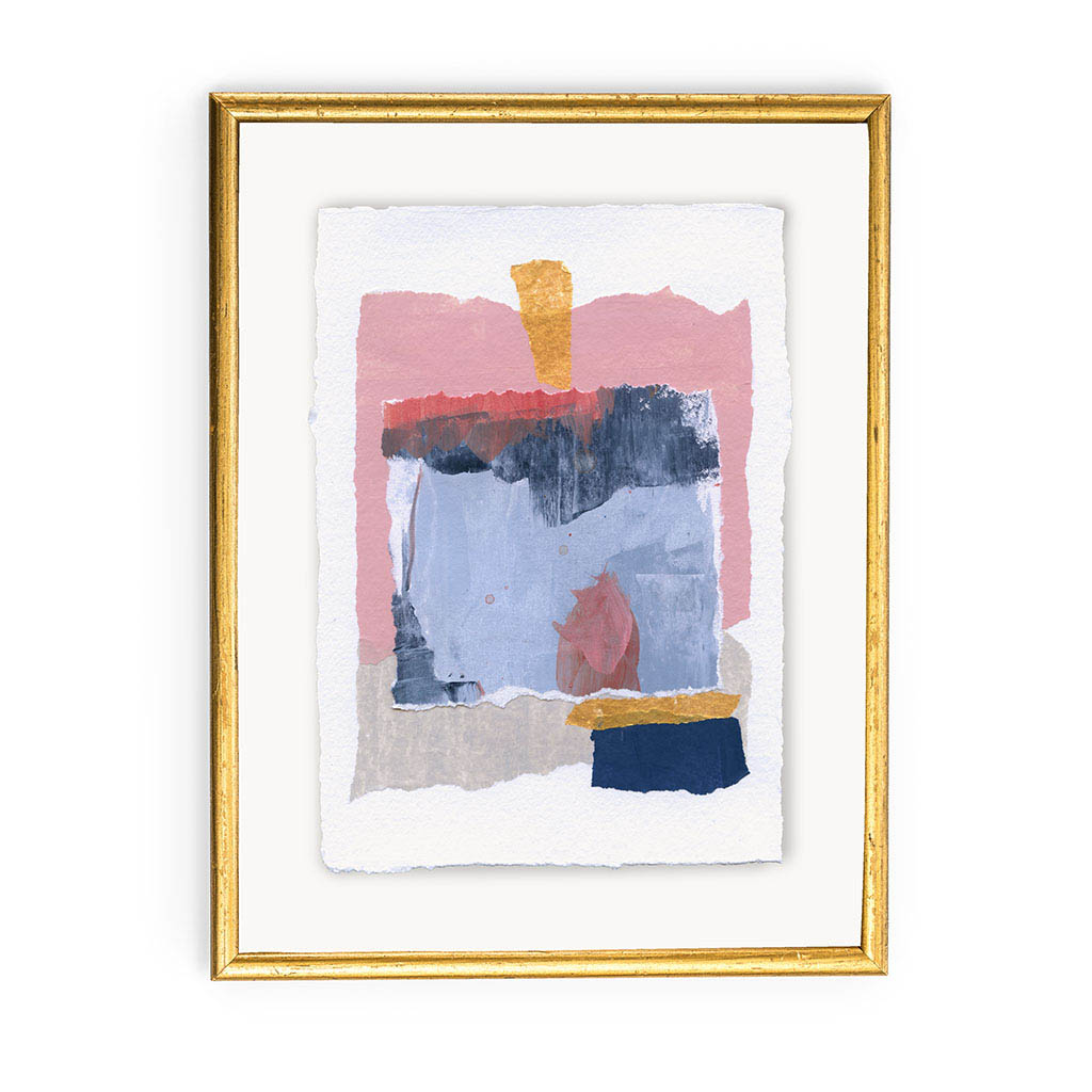 image of a mixed media piece of art with painted paper and torn edges arranged on a page. Colors are pink, navy, light blue, gold, white, and salmon
