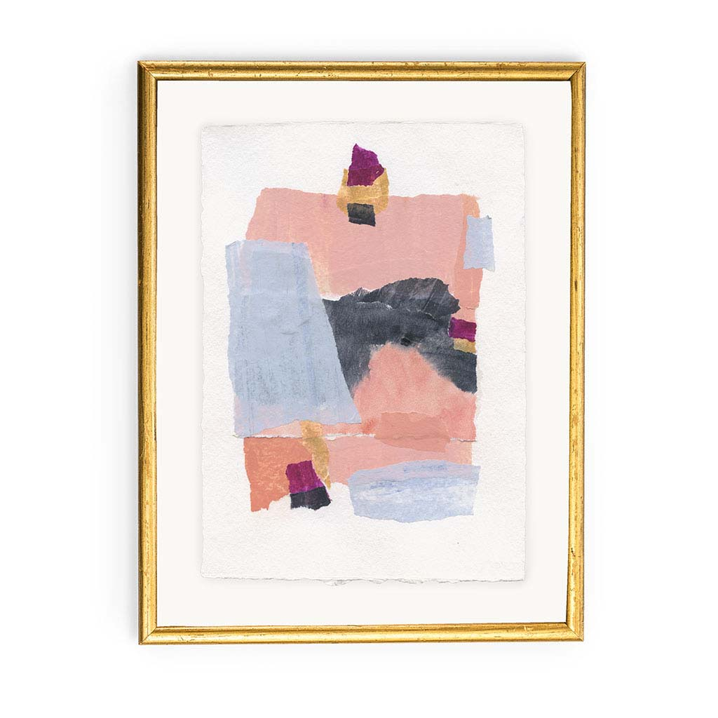 "bookshelf sized artwork shown in a simple gold frame. Artwork is abstract painted paper with blocks of color and texture. Colors are salmon, navy, gold, pink, blue, and white. Size is 6x8"" without frame."