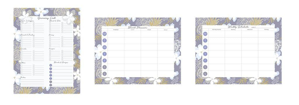 3 downloadable planning pages for grocery list, meal planner, and weekly schedule sold as a bundle. Border design is a floral botanical with gray blue yellow white.