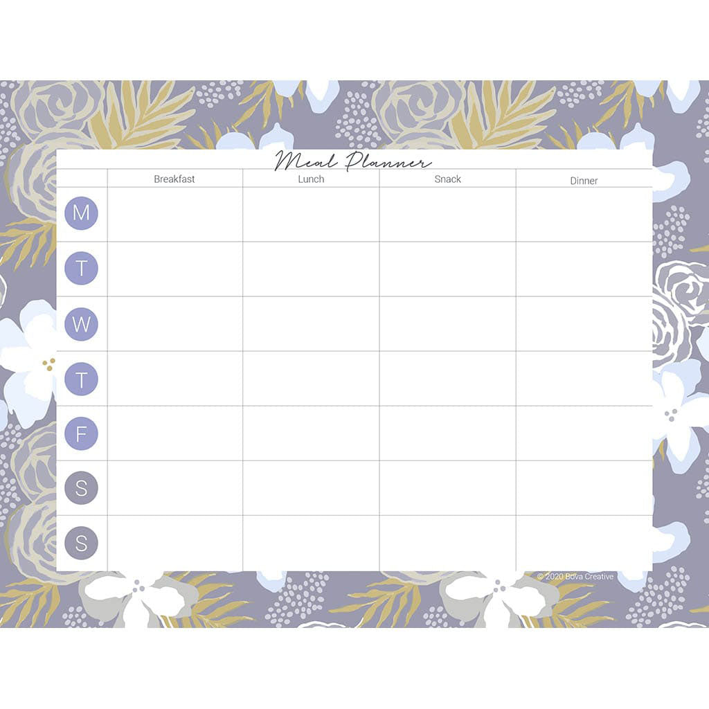 Weekly meal planning pdf download with boxes for each day of the week and breakfast, lunch, dinner, and snack. Pattern border is floral with blues, grays, and yellows