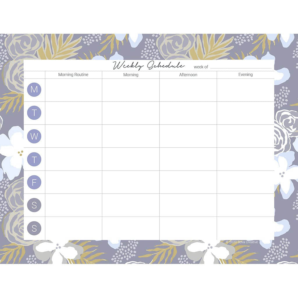 Weekly schedule planner page downloadable file with areas for morning routine, morning, afternoon, and evening. Blocks for each day of the week. Border pattern in botanical floral with grays, blues, and yellow.