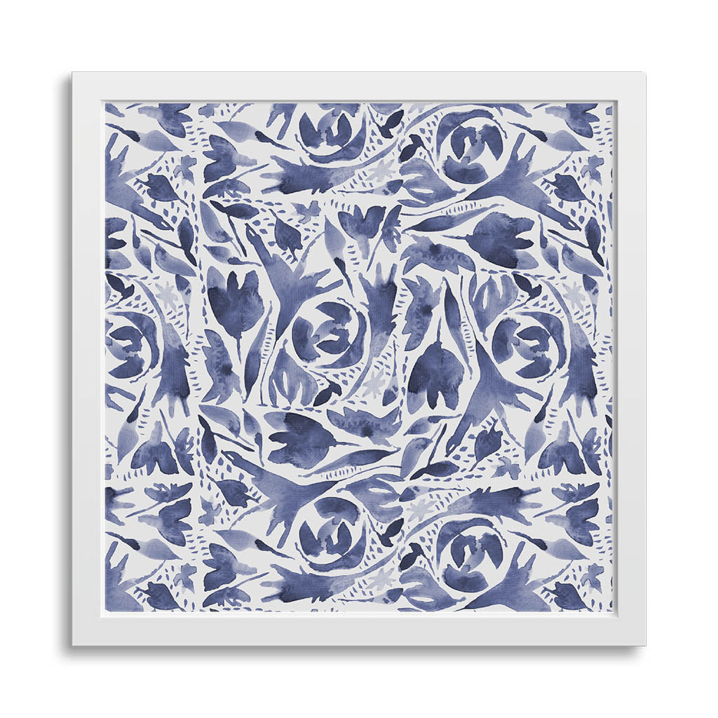 Mini square 8x8 art print in white frame showing indigo watercolor folk art design